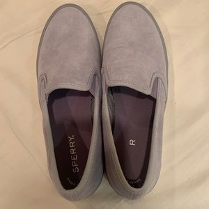 Sperry Lilac suede loafers.
